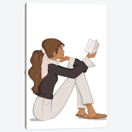 Bookworm Chic, Tanned, Brunette Hair Canvas Print #SAF14} by Sabina Fenn Canvas Wall Art