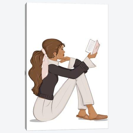 Bookworm Chic, Tanned, Brunette Hair Canvas Print #SAF14} by Sabina Fenn Canvas Wall Art