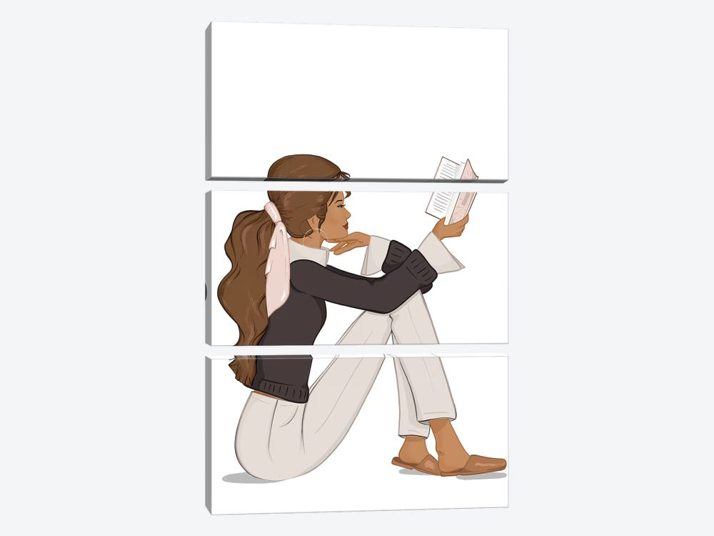 Bookworm Chic, Tanned, Brunette Hair by Sabina Fenn 3-piece Canvas Print