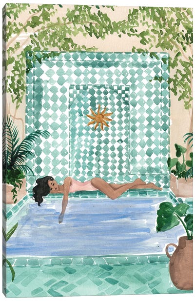 Poolside Siesta Canvas Art Print