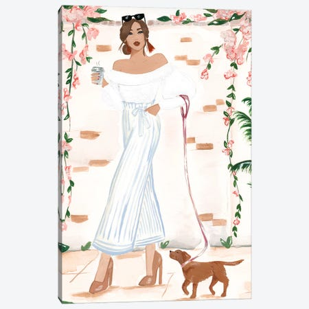 Walking The Dog Canvas Print #SAF178} by Sabina Fenn Canvas Artwork