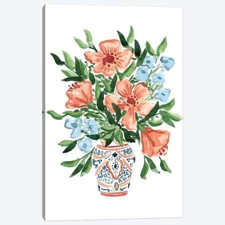 Peachy Florals Canvas Print #SAF190} by Sabina Fenn Canvas Art