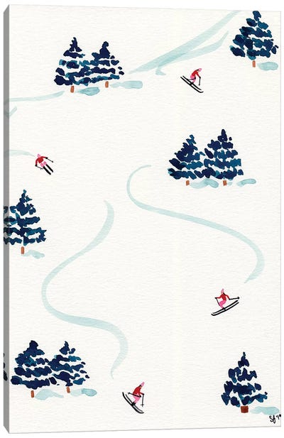 Little Skiers Canvas Art Print