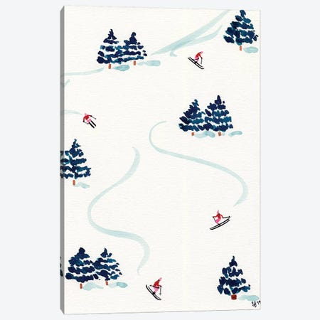 Little Skiers Canvas Print #SAF193} by Sabina Fenn Canvas Wall Art
