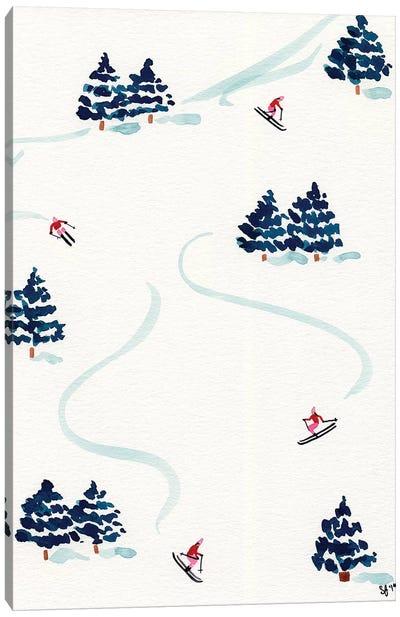 Little Skiers Canvas Art Print