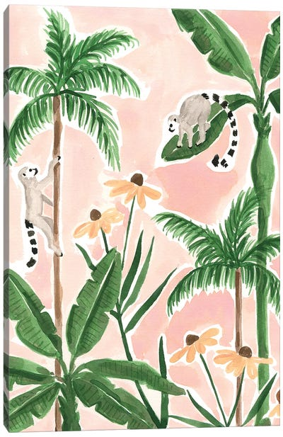 Leaping Lemurs Canvas Art Print