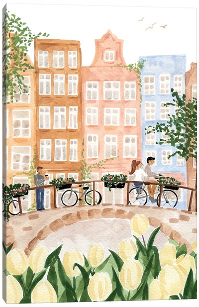 Amsterdam In The Spring Canvas Art Print