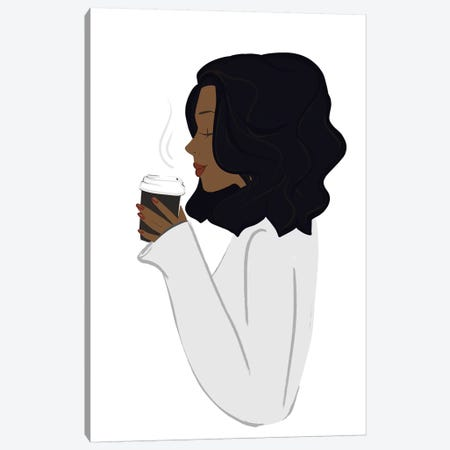 Coffee Break, Dark-Skinned, Black Hair Canvas Print #SAF24} by Sabina Fenn Art Print