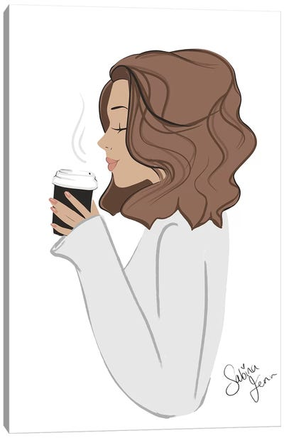 Coffee Break, Light-Skinned, Brunette Hair Canvas Art Print