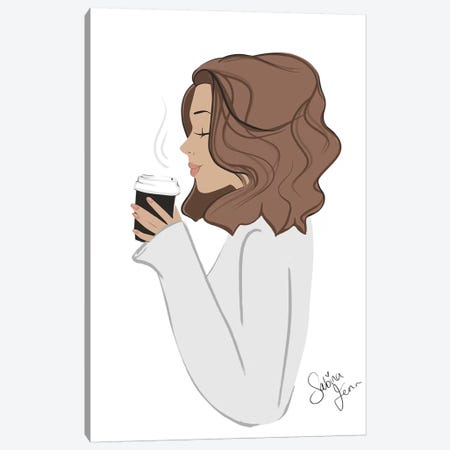 Coffee Break, Light-Skinned, Brunette Hair Canvas Print #SAF27} by Sabina Fenn Canvas Print