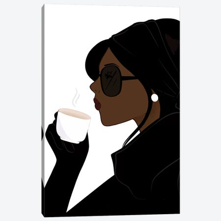 Espresso Chic, Dark-Skinned, Black Hair Canvas Print #SAF31} by Sabina Fenn Canvas Print
