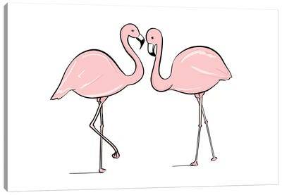 Flamingo Lovers Canvas Art Print