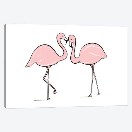 Flamingo Lovers Canvas Print #SAF37} by Sabina Fenn Canvas Artwork
