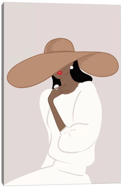 Floppy Hat, Dark-Skinned, Black Hair Canvas Art Print