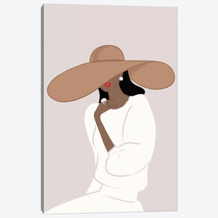 Floppy Hat, Dark-Skinned, Black Hair Canvas Print #SAF39} by Sabina Fenn Art Print