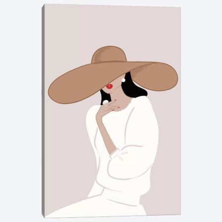 Floppy Hat, Light-Skinned, Black Hair Canvas Print #SAF40} by Sabina Fenn Canvas Wall Art