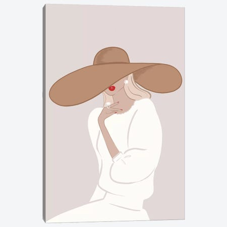 Floppy Hat, Light-Skinned, Blonde Hair Canvas Print #SAF41} by Sabina Fenn Canvas Artwork