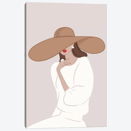 Floppy Hat Light-Skinned Brunette Canvas Print #SAF42} by Sabina Fenn Canvas Artwork