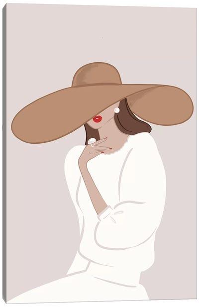 Floppy Hat Light-Skinned Brunette Canvas Art Print