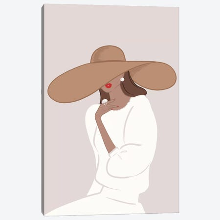 Floppy Hat, Tanned, Brunette Hair Canvas Print #SAF45} by Sabina Fenn Canvas Print
