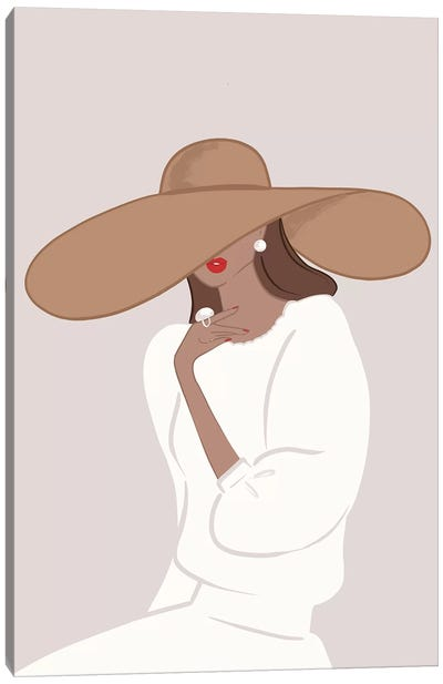 Floppy Hat, Tanned, Brunette Hair Canvas Art Print