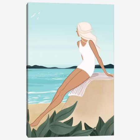Seaside Daydream, Light-Skinned, Blonde Hair Canvas Print #SAF77} by Sabina Fenn Canvas Art