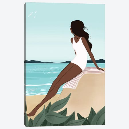 Seaside Daydream, Dark-Skinned, Black Hair Canvas Print #SAF78} by Sabina Fenn Canvas Print