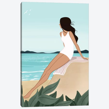 Seaside Daydream, Light-Skinned, Black Hair Canvas Print #SAF79} by Sabina Fenn Canvas Art Print