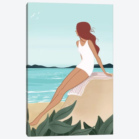 Seaside Daydream, Light-Skinned, Red Hair Canvas Print #SAF81} by Sabina Fenn Canvas Wall Art