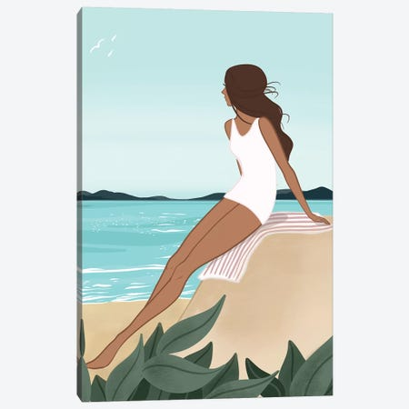 Seaside Daydream, Tanned, Brunette Hair Canvas Print #SAF82} by Sabina Fenn Canvas Art
