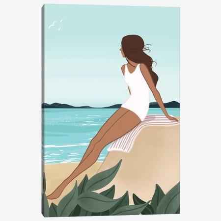 Seaside Daydream, Tanned, Brunette Hair Canvas Print #SAF82} by Sabina Fenn Canvas Art