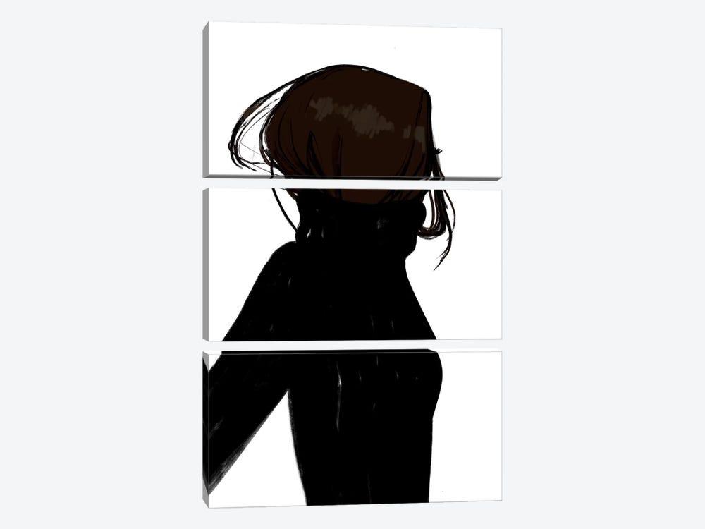 Turtleneck Messy Black Hair by Sabina Fenn 3-piece Canvas Artwork