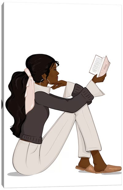 Bookworm Chic, Dark-Skinned, Black Hair Canvas Art Print