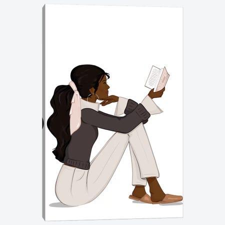 Bookworm Chic, Dark-Skinned, Black Hair Canvas Print #SAF9} by Sabina Fenn Canvas Print