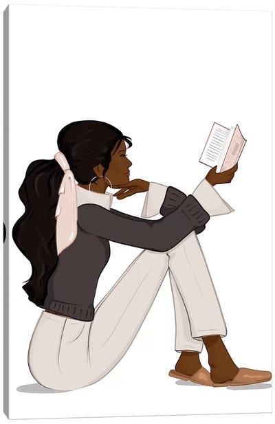 Bookworm Chic, Dark-Skinned, Black Hair Canvas Art Print