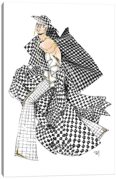 Monochrome Chanel Pattern Canvas Art Print