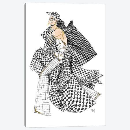 Monochrome Chanel Pattern Canvas Print #SAH24} by Samuel Harrison Canvas Art Print