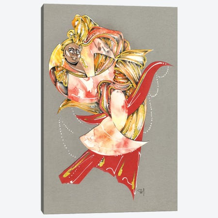 Orange Swirl Canvas Print #SAH27} by Samuel Harrison Canvas Art Print