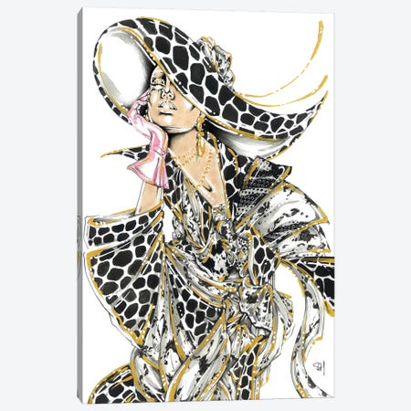 Monochrome Giraffe Canvas Print #SAH47} by Samuel Harrison Art Print