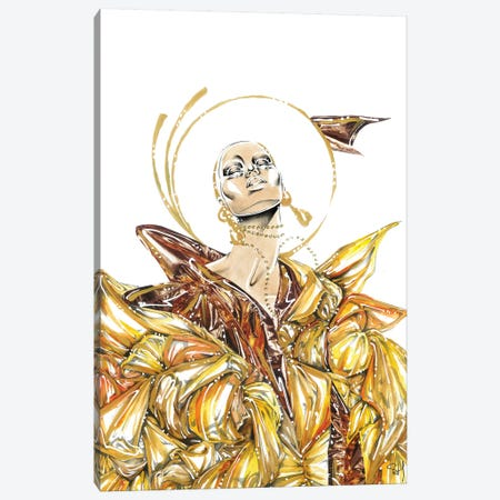 Golden Swirl Canvas Print #SAH55} by Samuel Harrison Canvas Artwork