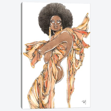 Afro Queen Canvas Print #SAH66} by Samuel Harrison Canvas Art Print
