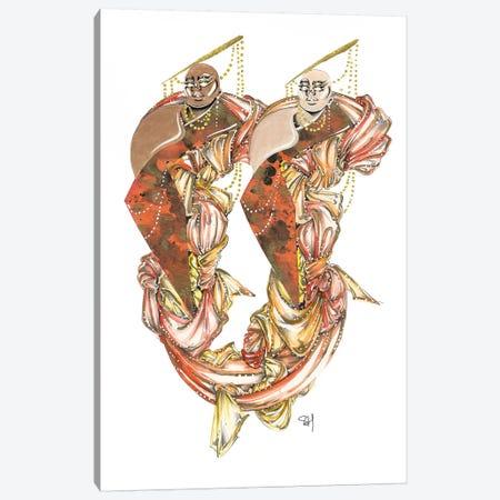 Darling Duo In Orange Canvas Print #SAH7} by Samuel Harrison Canvas Artwork
