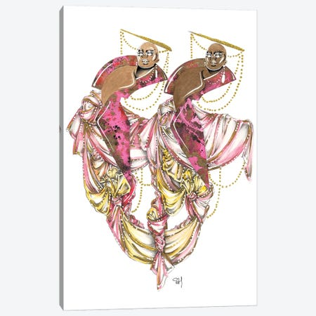 Darling Duo In Pink Canvas Print #SAH8} by Samuel Harrison Canvas Art Print