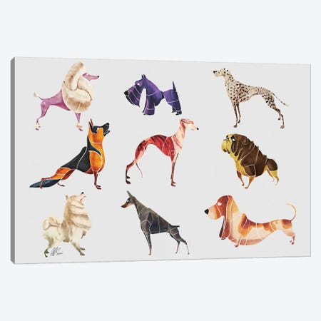 Dog Breeds 3-Piece Canvas #SAI18} by SAEIART Canvas Art
