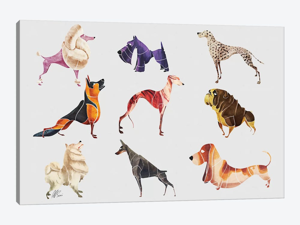 Dog Breeds by SAEIART 1-piece Canvas Print