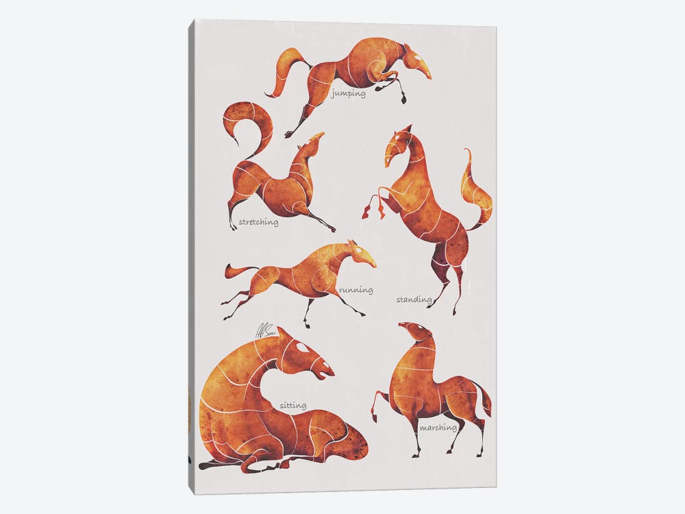 Horse Poses by SAEIART 1-piece Canvas Art Print