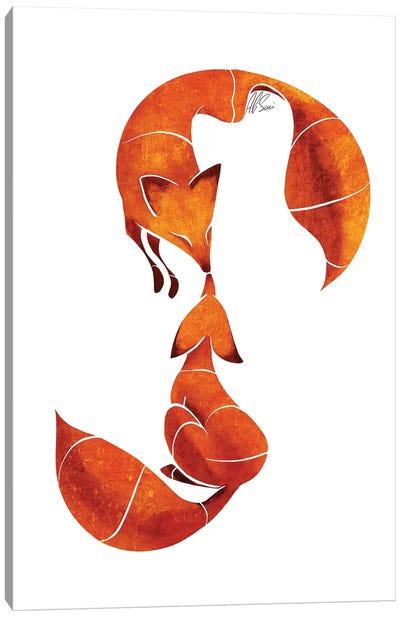Kissing Foxes Canvas Art Print