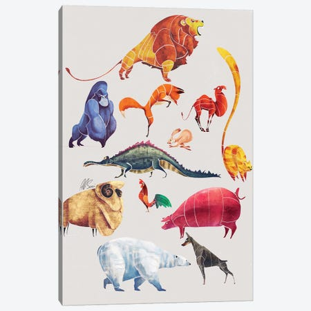 Animal Kingdom 3-Piece Canvas #SAI3} by SAEIART Canvas Artwork