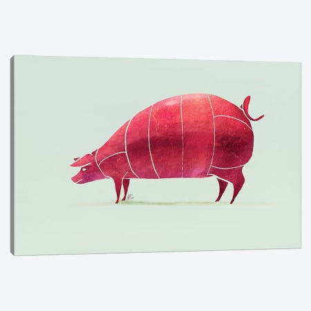 Pig Canvas Print #SAI41} by SAEIART Canvas Art Print