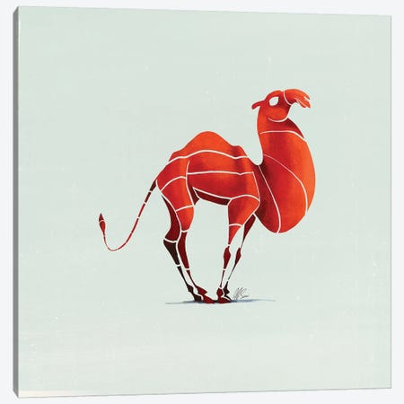 Camel 3-Piece Canvas #SAI6} by SAEIART Art Print